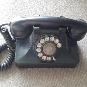 Vintage Heavy Black Rotary Nonworking Telephone